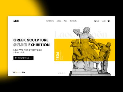 Laocoön   Greek sculpture landing page greek sculpture landingpage concept explore create website branding graphicdesign ux dailyui design ui minimal