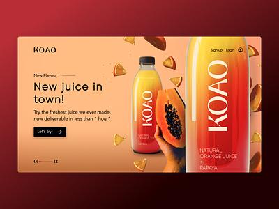 Koao   Landing page product photoshop uichallenge uidesign landingpage webpage website branding graphicdesign dailyui ui ux design minimal