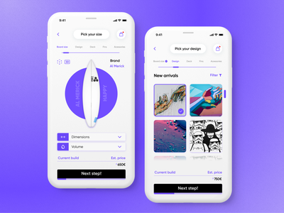 Surfboard shop app challenge clean gradient surfshop surf uidesign webapp appdesign concept app website dailyui ux design ui minimal