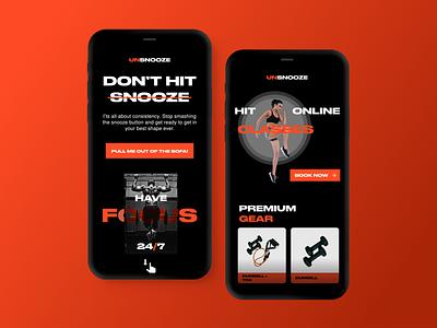 unsnooze   Mobile brand gym sports uichallenge landingpage webapp website mobile app mobileapp vector branding ux dailyui minimal design ui