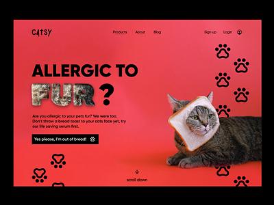 Cat Furrr   Landing page animals concept uichallenge branding colors cat landingpage website graphicdesign dailyui minimal design ui
