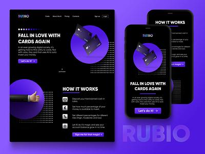 Rubio   Love your card again web bankapp clean 3d gradient fintech concept brand app landingpage website logo branding ux dailyui minimal design ui