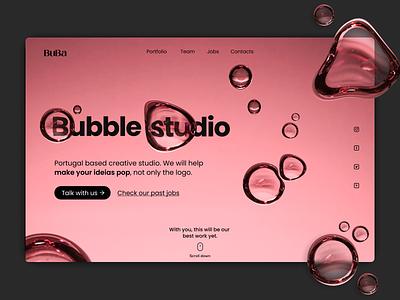 Bubble Studio   Landing page hero section page landing page web website minimalui uichallenge creative uiinspiration agency brand logo graphic design ux graphicdesign branding dailyui minimal design ui