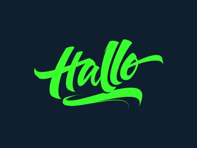 Say Hallo!  custom neon hallo vector lettering typography
