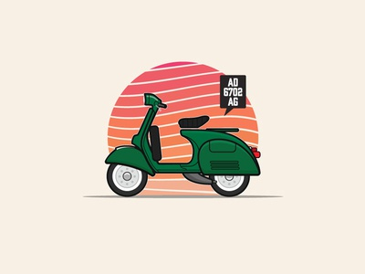 1975's Sprint Veloce bike motorcycle retro vintage logo scooter sunset artwork minimal illustration vector vespa