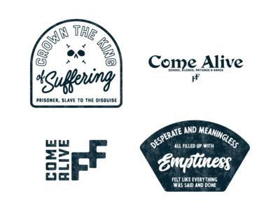 Come Alive brand clothing lettering skull textured textures logo design surf badges badge artwork typography logotype logo