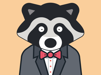 Raccoon in a suit bowtie cute suit raccoon