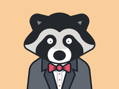Raccoon in a suit with a bowtie cute animal bowtie suit raccoon