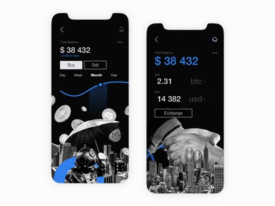 #078 Crypto Exchange design 2d black vector abstract dribble illustration application exchange bitcoin collage flat crypto app design