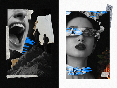 #080 Collage explore noise mountain scream card flowers collage man girl monochrome design black abstract flat dribble illustration