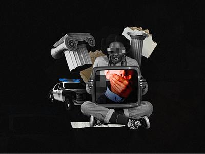 #081 destruction girl design censorship crime woman black blm police collage monochrome abstract dribble illustration