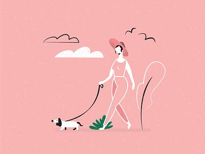 #025 girl pink nature street clouds walking birds dog characterdesign 2dart digitalillustration 2d monochrome vector glasses design black illustration flat dribble