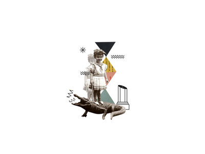 #043 ethnography folk girl crocodile alligator avantgarde abstractcollage collage abstract illustration dribbble