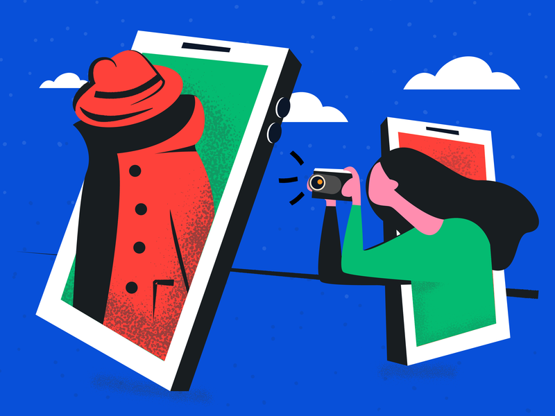#049 Stalkering stalkering searching spying dribble 2d vector abstract digital illustration clouds tinder screenshot paparazi spy illustration