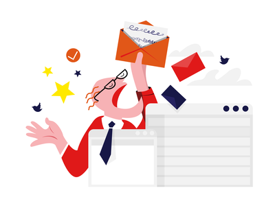 #055 twitter post news newsletter mail character worker vector abstract flat dribble illustration