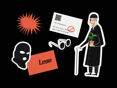 #074 Leon is still in business cinema newyork france killer leon man glasses design 2d black vector abstract flat dribble illustration