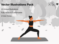 Yoga & Workout Vector Illustrations - 2 Color Styles
