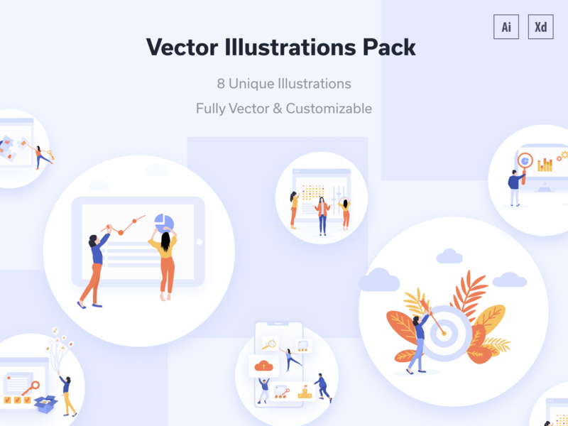 Business Software Vector Concept & Dribbble Invite designinspiration uidesign people settings features hero area characters apple devices calendar appointment mobile app design landinpage dashboard analytics charts cogs business vectorconcept illustrations seo