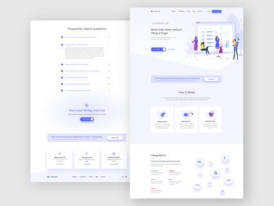 Studio Suite - One Page Website startup free trial ux design ui design clear design simple design simple footer footer design documentation how it works hero area landing page sponsors contact page integrations faq dance school one page website software dance studio