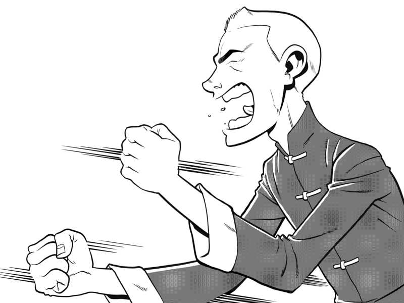 Wing Chun vector digital cartoons comics illustration martial art