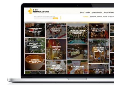 V Bc vail beaver creek restaurant week food minimal web 970 design