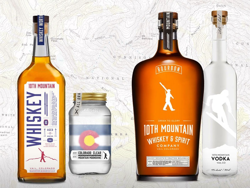 10th Mountain Whiskey Bottle Designs 970 design spirits whiskey bottles package colorado ski bourbon moonshine topo mountain
