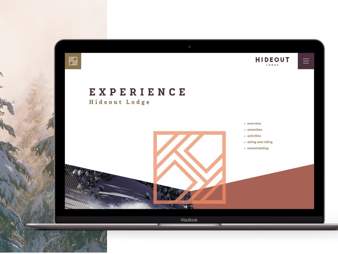 Hideout Lodge adventure minimal mountain logo experience lodge cabins ski colorado website vail