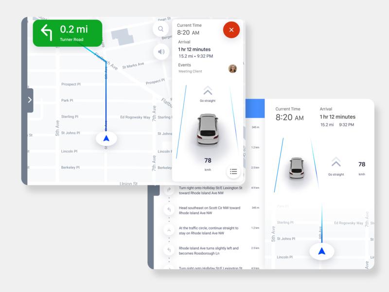 Car Navigation Screen app ux ui design