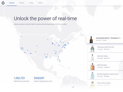 Nectar Homepage Concept liquour landing page real-time map feed web ui