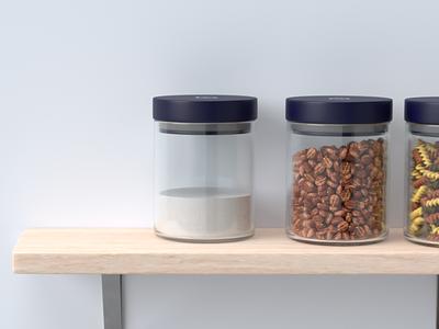Nectar Pantry Shelf - 3D Render glass wood jars render 3d web ui