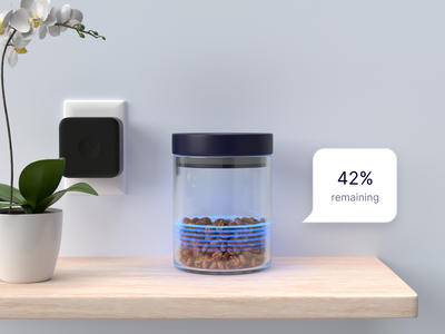 Nectar Smart Container - 3D Render ultrasound beans coffee orchid wood jar glass