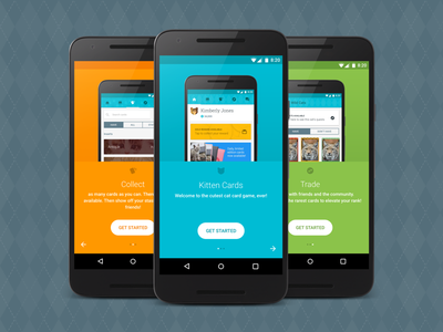 Kitten Cards - Onboarding material design game mobile web ux ui