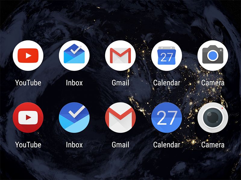 Round Google App Icons - Pixel Shift material design camera calendar gmail inbox youtube launcher android