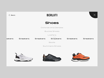 Berluti Menu with marquee effect experience creative concept app shoes website design ecommerce principle web ui mask store product fashion interaction shop animation marquee menu