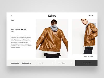 Kalium Product Page cart ux page product shopping style luxury e-commerce ecommerce fashion ui