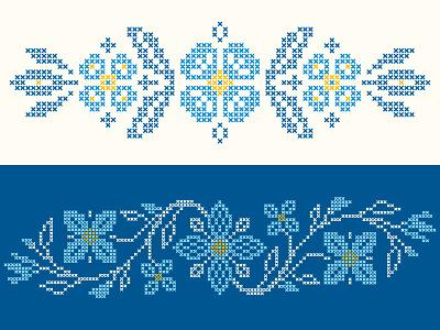 Cross-stitch floral elements pixelart embroidery ukrainian blue slanapotam cross-stitch floral flower