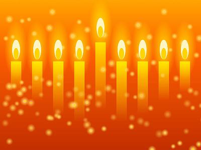 Hanukkah Lights vector orange candles holiday judaism jewish menorah hanukkah