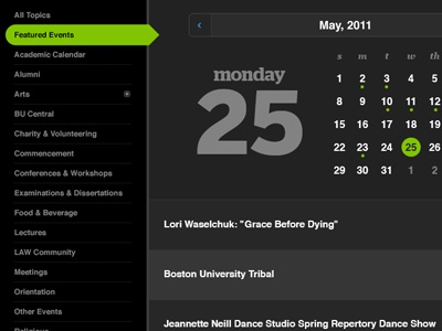 an earlier iteration of the boston university online calendar detail shows topics nav and date