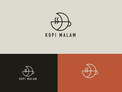 Kopi Malam Coffe Logo minimal creative branding icon logo typography vector flat illustration design