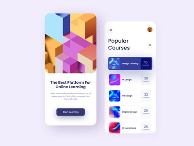 Online Learning mobile app (Free) ui kit free color study online class colorful typography web deisgn illustration mobile app design design app ux ui online course learning class lesson education course