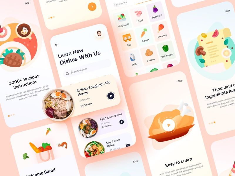 Online Cooking Learning mobile app home cooking free download 2020 trend best dribbble shot clean color ui trend ui design food app food truck digital learning online learning learning recipe food cooking ux ui illustration mobile app design