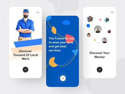 Local Work & Worker hunting Mobile app trendy design 2021 3d job app job listing job work worker clean ui website typography web web deisgn best shot mobile app design ios app design ux ui