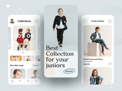 Junior Fashion app junior fashon delivery brand clothing fashion kid baby shop online shopping ecommerce app dribbble best shot 2021 trend ui design typography best shot mobile app design ios app design ux ui