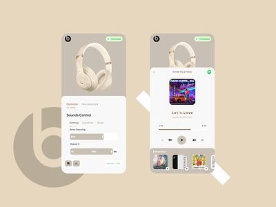 Beats Headphone Control App UI Design ui design modern application music app app concept modern app modern ui app ui app app designer app design