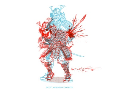 Hari Kari anaglyph art illustration sword 3d red blue samurai hari kari