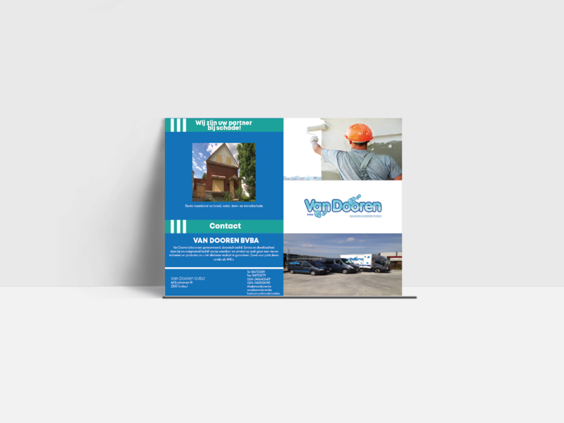Brochure: Van Dooren Bvba branding animation illustration website vector ui ux typography brand logo design graphic  design concept flat illustrator brochure layout brochure design cleaning company cleaning service bifold brochure brochure