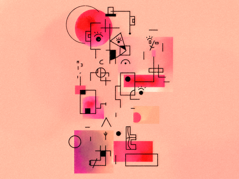 METAMORPHOSE face art composition suprematism symbols beauty abstract colors draw adobe illustrator illustration shot dribbble