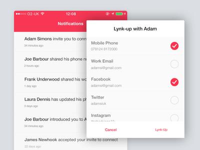 Connecting on Lynker invite picker navigation ios notifications modal lynker