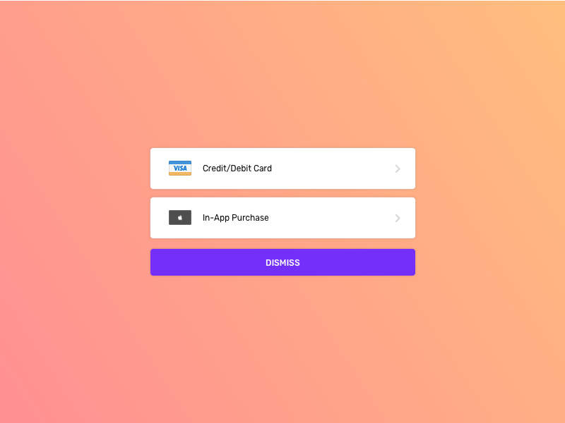 It's time to pay the piper! stripe alert buynow purchase payment visa in-app modal sheet action