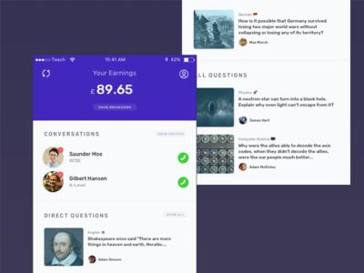 Teecher admin interface money earnings tiles chat conversation teacher